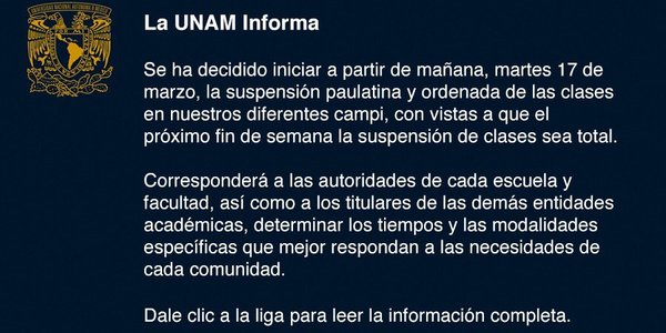 Article slide anuncio unam corona